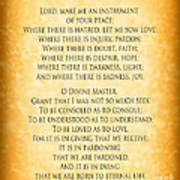 Prayer Of St Francis - Pope Francis Prayer - Gold Parchment Art Print