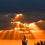 Pre Sunset Sky With Saguaro Art Print