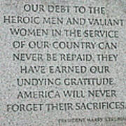 President Truman's Dedication To World War Two Vets Art Print