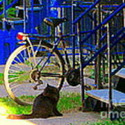 Pretty Cat In Verdun Taking The Sun Blue Picket Fence And Bike Montreal Garden Scene Carole Spandau  Art Print
