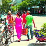 Pretty Pink Summer Dress Sunny Stroll Licari St Denis Scene Montreal Bike Racks And Flowers Cspandau Art Print