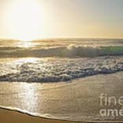 Pretty Waves At Glowing Sunrise By Kaye Menner Art Print