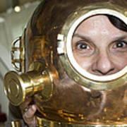Pretty Woman In Copper Helmet Art Print
