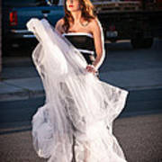 Pretty Woman With Gun Behind The Veil Art Print