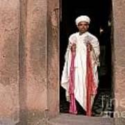 Priest At Ancient Rock Hewn Churches Of Lalibela Ethiopia Art Print