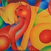 Primary Cats Art Print