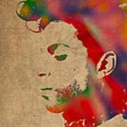 Prince Watercolor Portrait On Worn Distressed Canvas Art Print