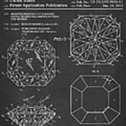 Princess Cut Diamond Patent Barcode Gray Art Print