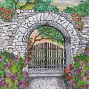 Private Garden At Sunset Art Print