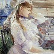 Profile Of A Seated Young Woman Art Print