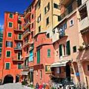 promenade and homes in Camogli Art Print