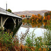Prosser Bridge And Fall Colors On The River Art Print