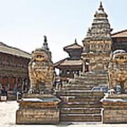Protector Sculptures Near The Boundary Of Bhaktapur Durbar Square In Bhaktapur-nepal Art Print