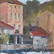 Provence Village Stream Art Print