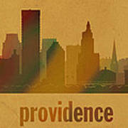 Providence Rhode Island City Skyline Watercolor On Parchment Art Print