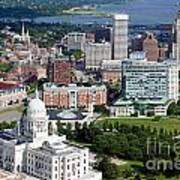 Providence Rhode Island Downtown Skyline Aerial Art Print