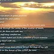 Psalm 23 Beach Sunset Art Print