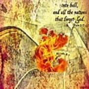 Psalm 9 17 Art Print
