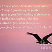 Psalm With Pelican And Pink Sky Art Print