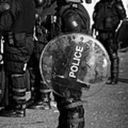Psni Officer In Full Riot Gear With Shield On Crumlin Road At Ardoyne Shops Belfast 12th July Art Print by Joe Fox