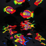Psychedelic Flying Fish With Psychedelic Reflections Art Print