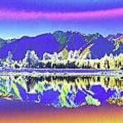 Psychedelic Lake Matheson New Zealand 2 Art Print