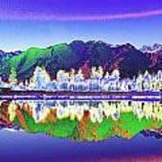 Psychedelic Lake Matheson New Zealand Art Print