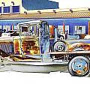 Psychedelic Old Pickup Truck Art Print