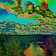 Psychedelic Skyline Over Spokane River #2 Art Print