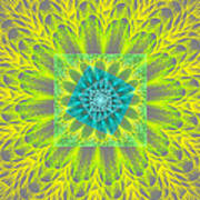 Psychedelic Spiral Vortex Yellow And Gray Fractal Flame Art Print