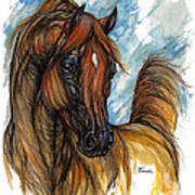 Psychodelic Chestnut Horse Original Painting 2 Art Print