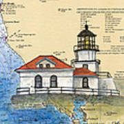 Pt Bonita Lighthouse Ca Nautical Chart Map Art Art Print