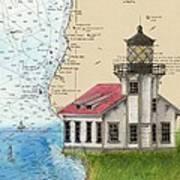 Pt Cabrillo Lighthouse Ca Nautical Chart Map Art Cathy Peek Art Print