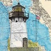 Pt Montara Lighthouse Ca Nautical Chart Map Art Cathy Peek Art Print