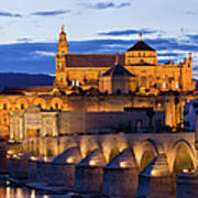 Puente Romano And Mezquita At Twilight In Cordoba Art Print