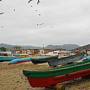 Puerto Lopez Beach And Boats Art Print