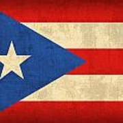 Puerto Rico Flag Vintage Distressed Finish Art Print by Design Turnpike