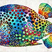 Puffer Fish Art - Puff Love - By Sharon Cummings Art Print