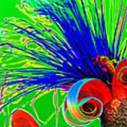 Puffy Bloom W Bee In Rainbow Art Print