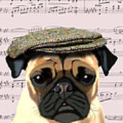 Pug In A Flat Cap Art Print by Kelly McLaughlan