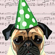 Pug In A Party Hat Art Print by Kelly McLaughlan