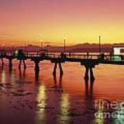 Puget Sound Olympic Mountains Fishing Pier Art Print