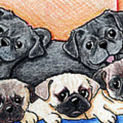 Pugs Party Of Five Art Print