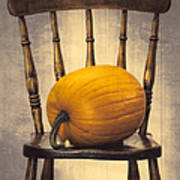 Pumpkin On Chair Art Print