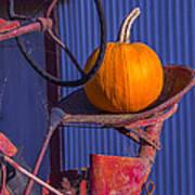 Pumpkin On Tractor Seat Art Print