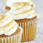 Pumpkin Spice Cupcake With Cream Cheese Icing Art Print