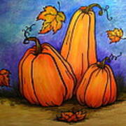 Pumpkin Trio Art Print