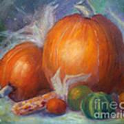 Pumpkins And Corn Art Print