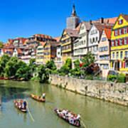 Punts On River Neckar In Lovely Old Tuebingen Germany Art Print