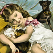 Puppies Kittens And Baby Girl Art Print